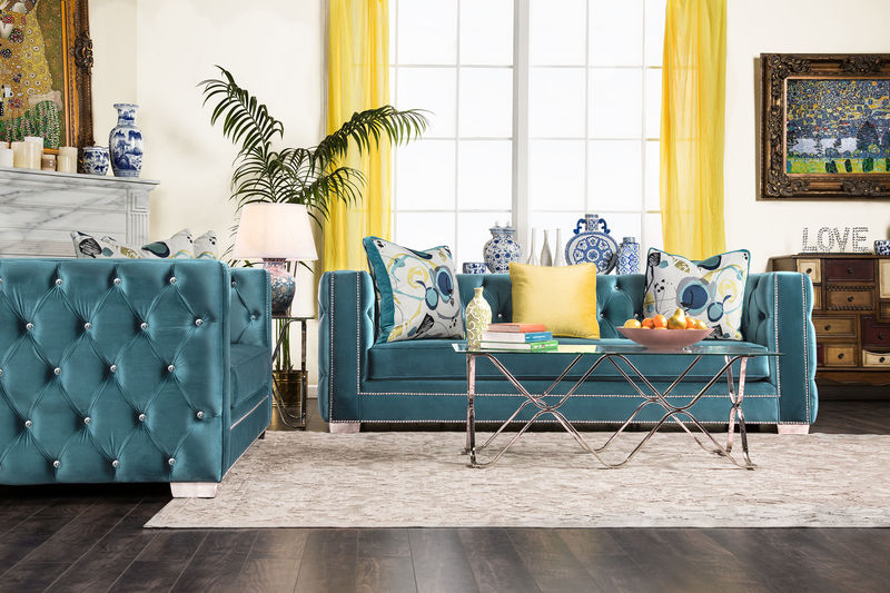 Salvatore Living Room Set in Turquoise