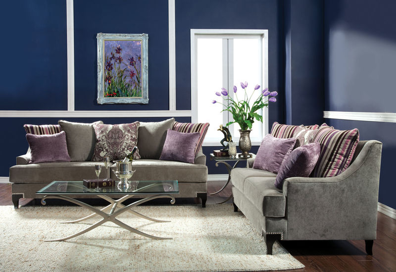 Viscontti Living Room Set in Gray