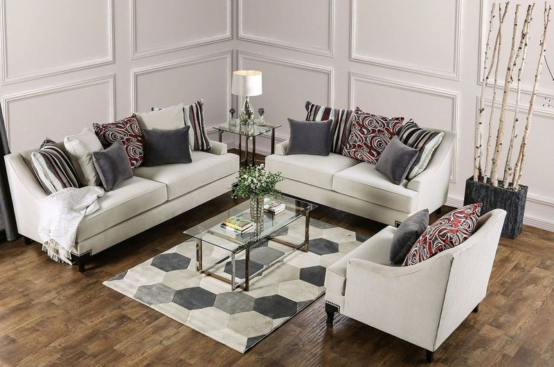 Viscontti Living Room Set in Ivory