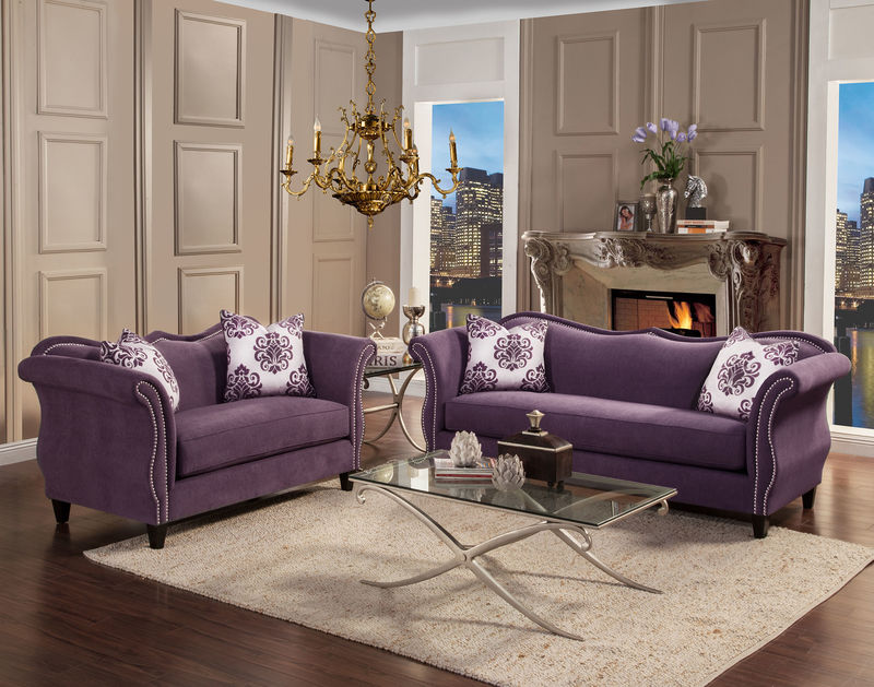 Zaffiro Living Room Set in Lavender