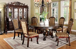 Medieve Formal Dining Room Set with Round Table in Cherry