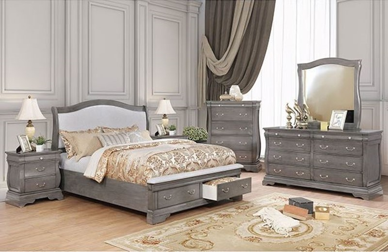 Merida Bedroom Set in Gray with Storage Drawers