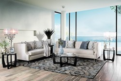 Tegan Living Room Set in Beige