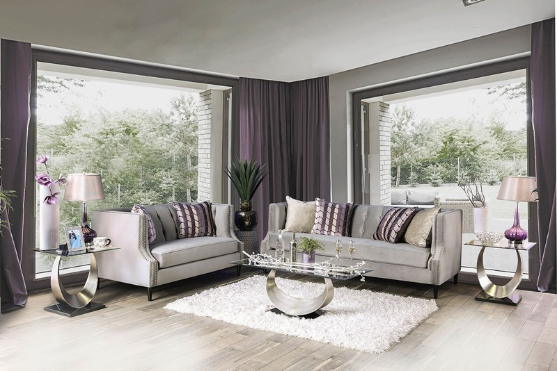 Tegan Living Room Set in Gray