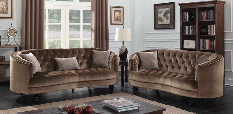 Manuela Living Room Set in Brown
