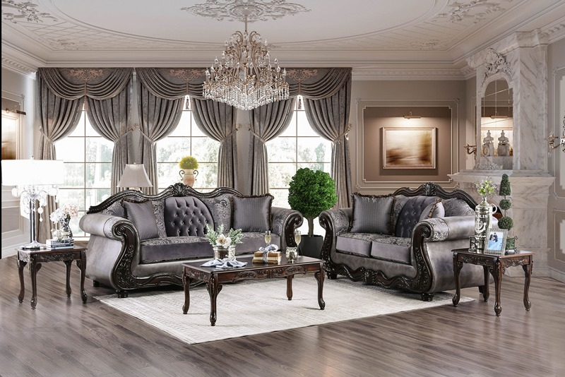 Tabatha Formal Living Room Set in Charcoal