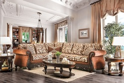Cassandra Formal Sectional Sofa in Pecan Brown