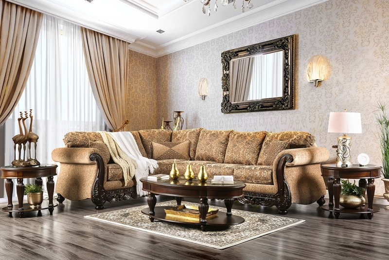 Cassandra Formal Sectional Sofa in Tan