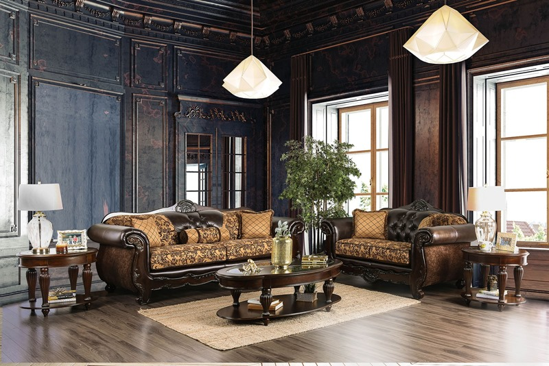 Quirino Formal Living Room Set in Tan