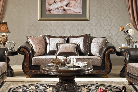 Meredith Leather and Chenille Living Room Set