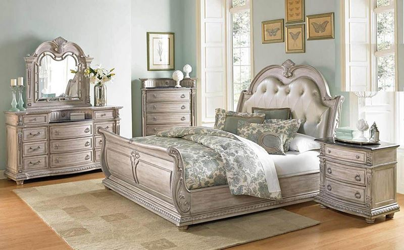 Von Furniture | Palace II Bedroom Set with Sleigh Bed in Antique White