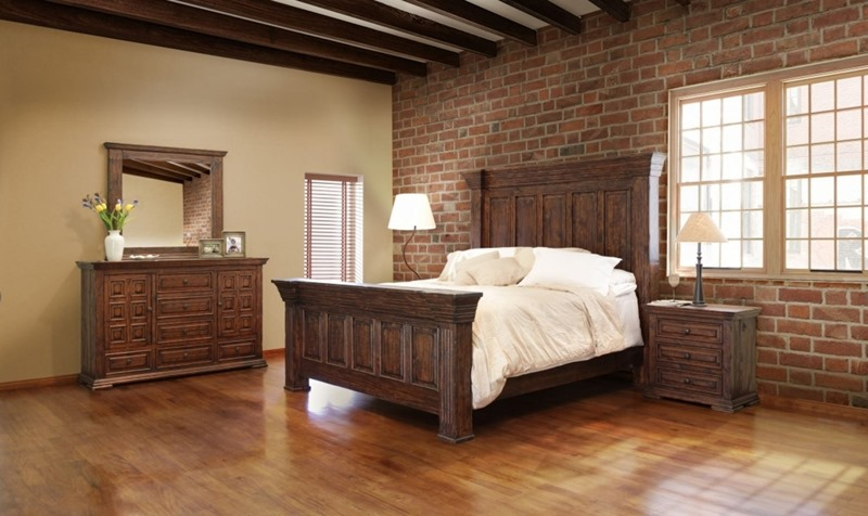 Terra 4 Piece Solid Wood Rustic Bedroom Set