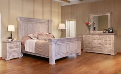 Terra White 4 Piece Solid Wood Rustic Bedroom Set