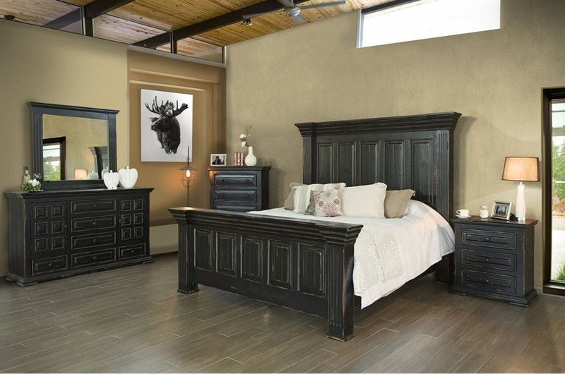 Terra Black 4 Piece Solid Wood Rustic Bedroom Set