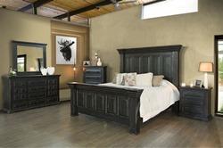 Terra Black 4 Piece Solid Wood Rustic Bedroom Set