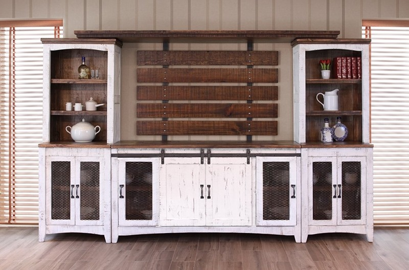 Pueblo White Solid Wood Rustic Entertainment Center
