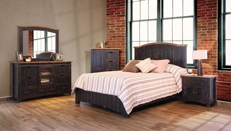 Pueblo 4 Piece Solid Wood Black Rustic Bedroom Set