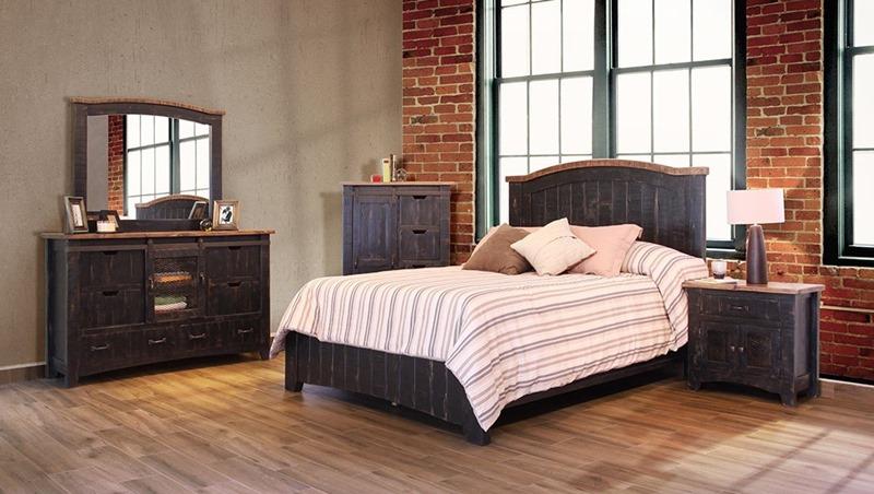 Pueblo 4 Piece Solid Wood Black Rustic Bedroom Set