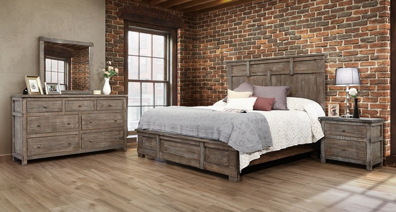 San Angelo 4 Piece Solid Wood Rustic Bedroom Set