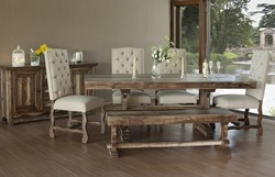 Marquez 6 Piece Solid Wood Rustic Dining Room Set with Upholstered Chairs