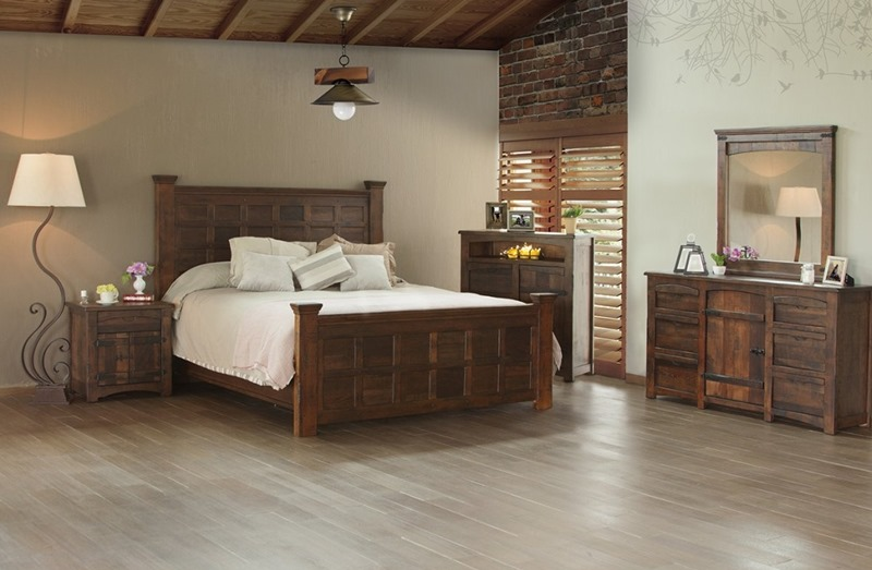 Mezcal 4 Piece Solid Wood Rustic Bedroom Set