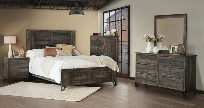 Moro 4 Piece Solid Wood Rustic Bedroom Set