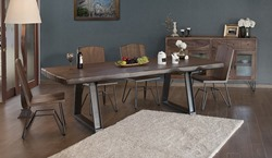 Taos 6 Piece Solid Wood Rustic Dining Room Set with Live Edge