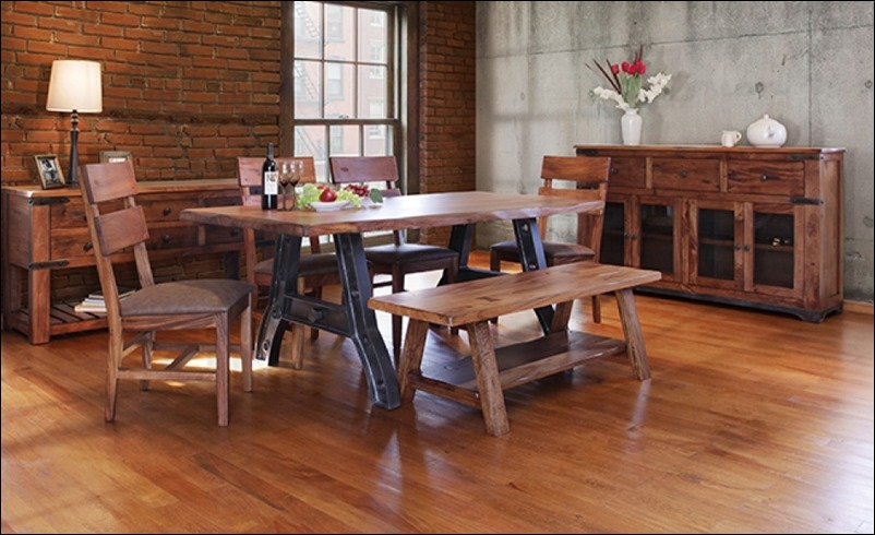 Parota 6 Piece Solid Wood Rustic Dining Room Set with Iron Base