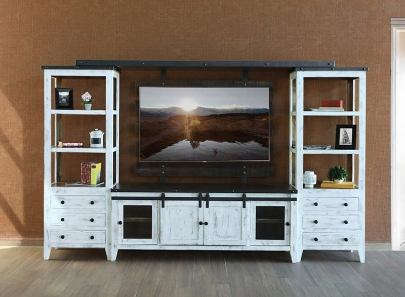 Antique White Solid Wood Rustic Entertainment Center