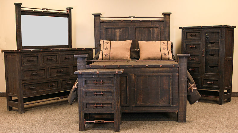 Von Furniture Finca Copper Rustic Bedroom Set
