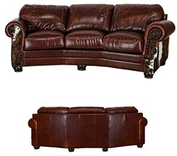 Leather/Cowhide Rustic Cowboy Theater Sofa