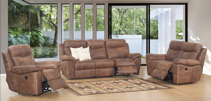 3 Piece Top Grain Buffalo Leather Reclining Sofa Set in Woodland Spice Brown
