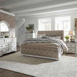 Magnolia Manor 4 Piece Queen Sleigh Bedroom Set with Upholstered Bed