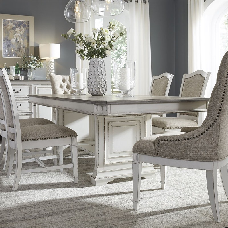 Abbey Park 7 Piece Distressed White Dining Room Set