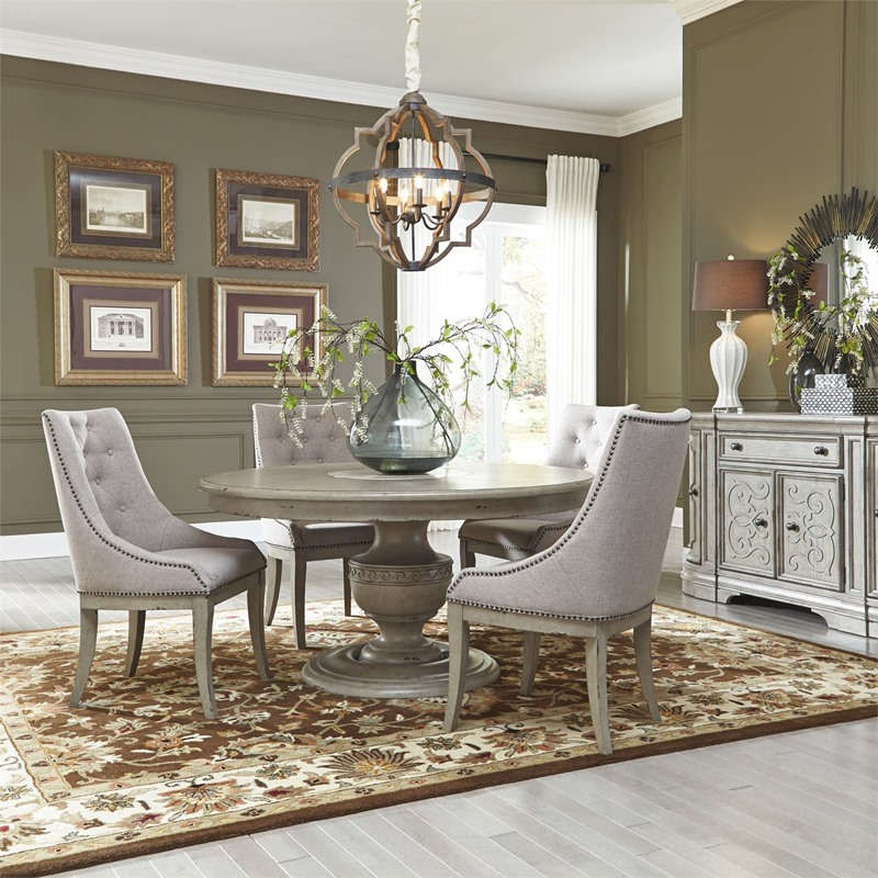 Grand Estates 7 Piece Round Formal Dining Room Set with Upholstered Chairs