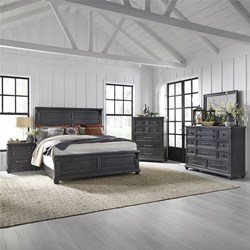 Harvest Home 4 Piece Queen Bedroom Set in Chalkboard