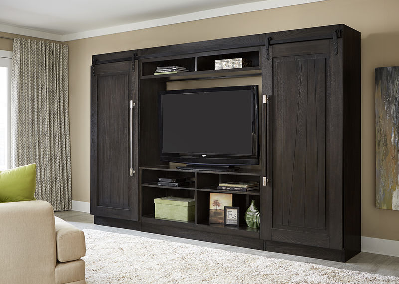 Abbey Charcoal Entertainment Center with Barn Style Doors
