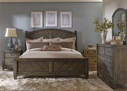 Modern Country 4 Piece King Poster Bedroom Set