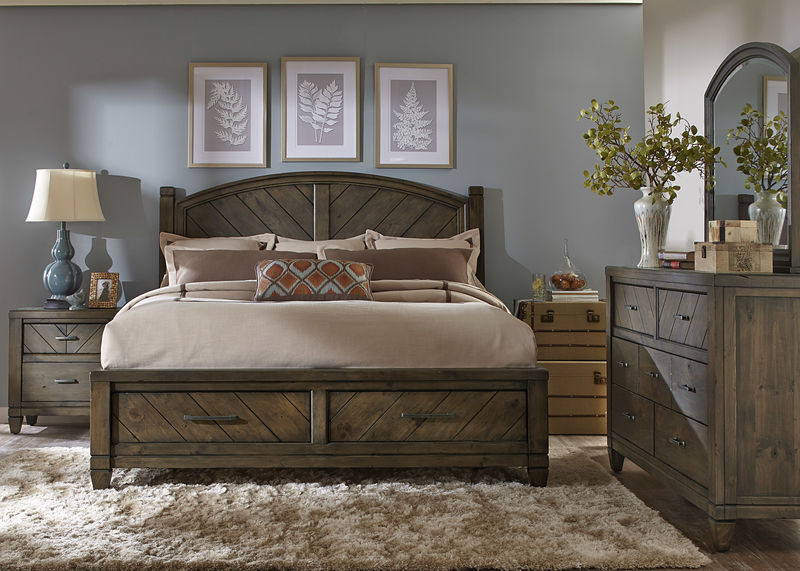 Modern Country 4 Piece Queen Storage Bedroom Set