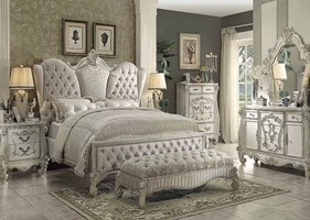 Lucca Bedroom Set in Ivory Velvet