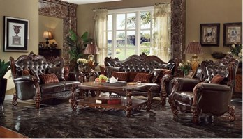 Lucca Formal Living Room Set in Dark Brown