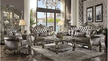 Lucca Formal Living Room Set in Platinum