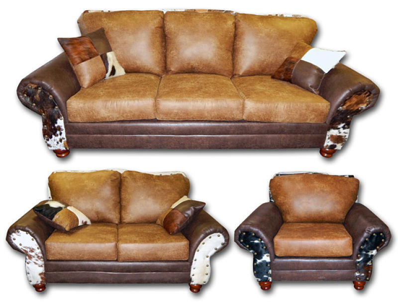 Chestnut/Sable Rustic Living Room Set with Cowhide Accents