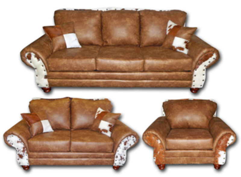 Chestnut Rustic Living Room Set with Cowhide Accents