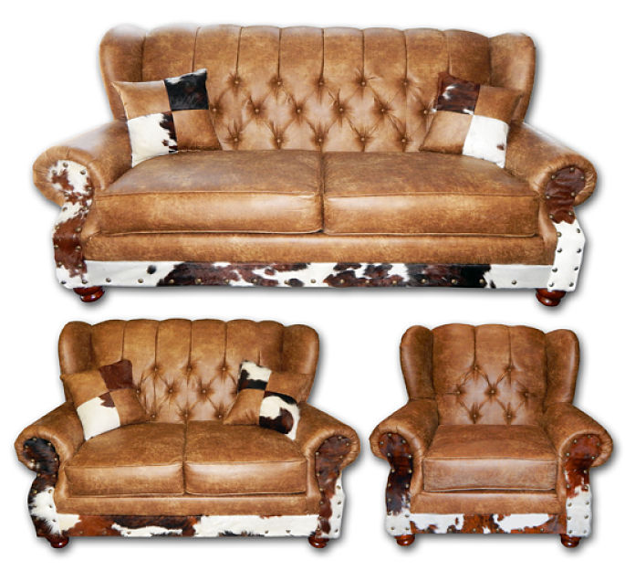Chestnut Wingback Rustic Living Room Set with Cowhide Accents