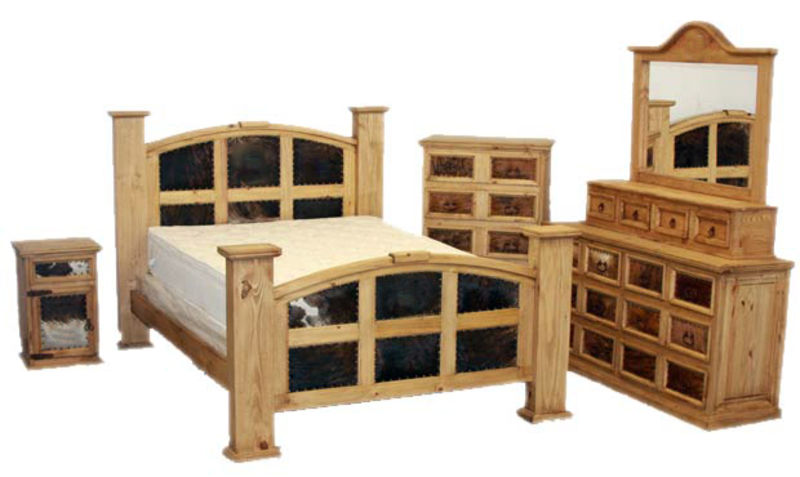 Mansion Rustic Bedroom Set with Cowhide