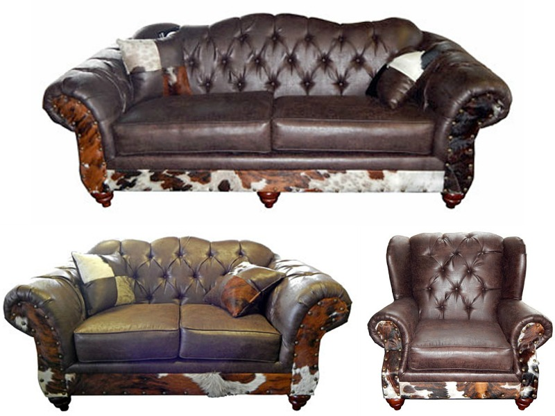 Sable Rustic Living Room Set with Cowhide Accents