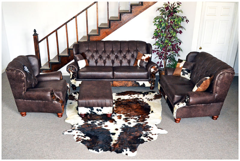 Sable Wingback Rustic Living Room Set with Cowhide Accents
