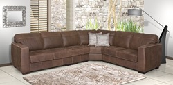 Top Grain Buffalo Leather Sectional in Colorado Clay Brown