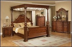 Opal Cherry Bedroom Set with Canopy Bed